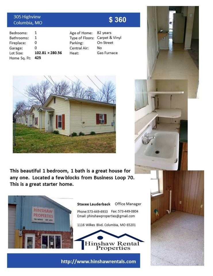 305 Highview Avenue Columbia Mo 65203 1 Bedroom Apartment For